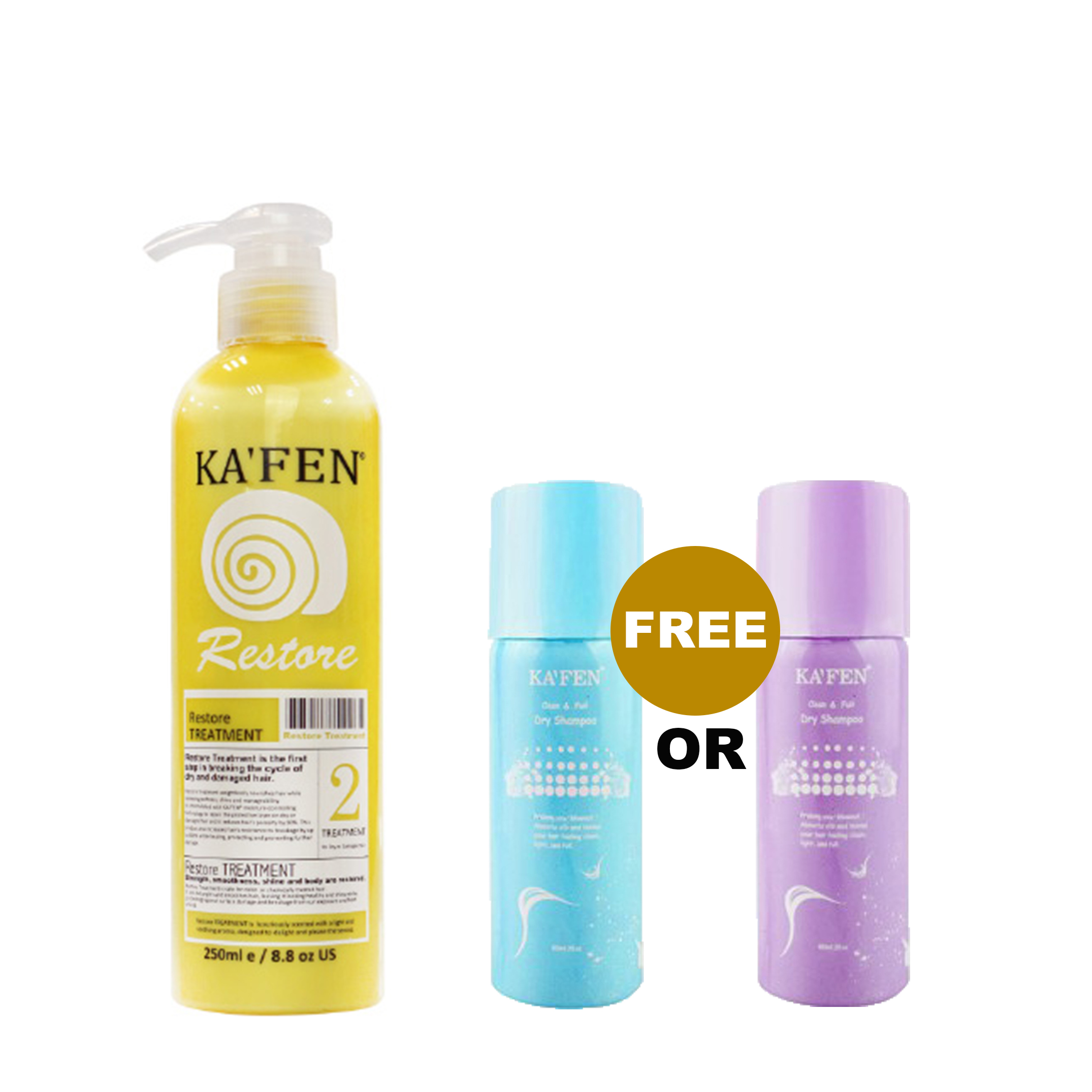 Kafen Snail Restore Treatment 250ml Free 60ml Dry Shampoo | Gogobli
